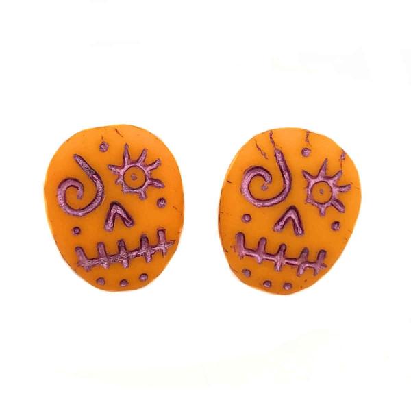 Glass Sugar Skulls, Orange/Pink (14 x 17mm) (Qty: 2)
