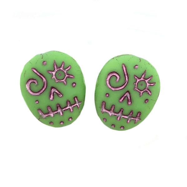 Glass Sugar Skulls, Green/Pink (14 x 17mm) (Qty: 2)