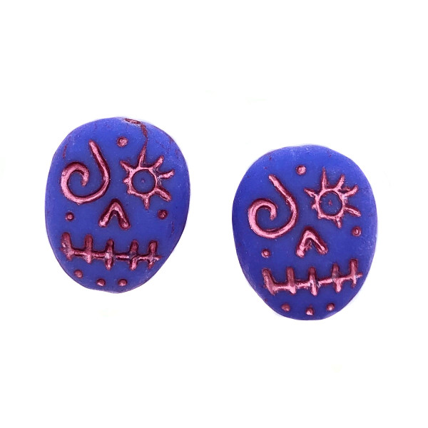 Glass Sugar Skulls, Blue/Pink (14 x 17mm) (Qty: 2)