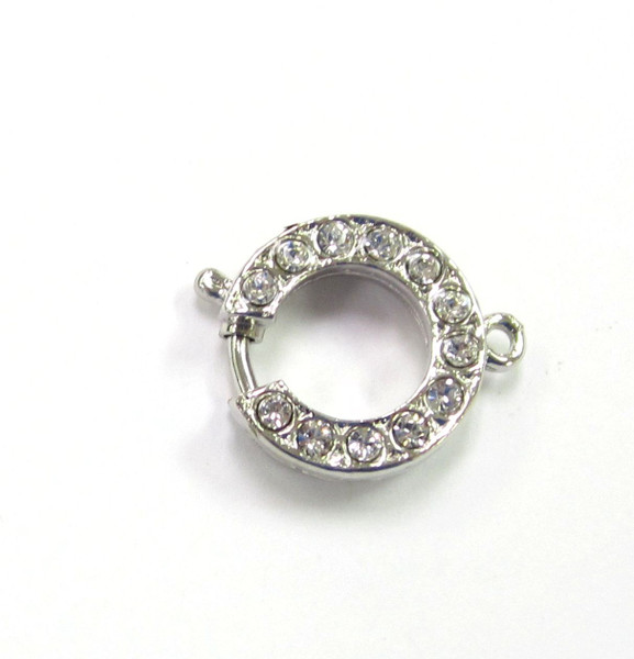 1 Strand Silver Plated Round Elegant Elements Clasp (15mm ring) (Qty: 1)