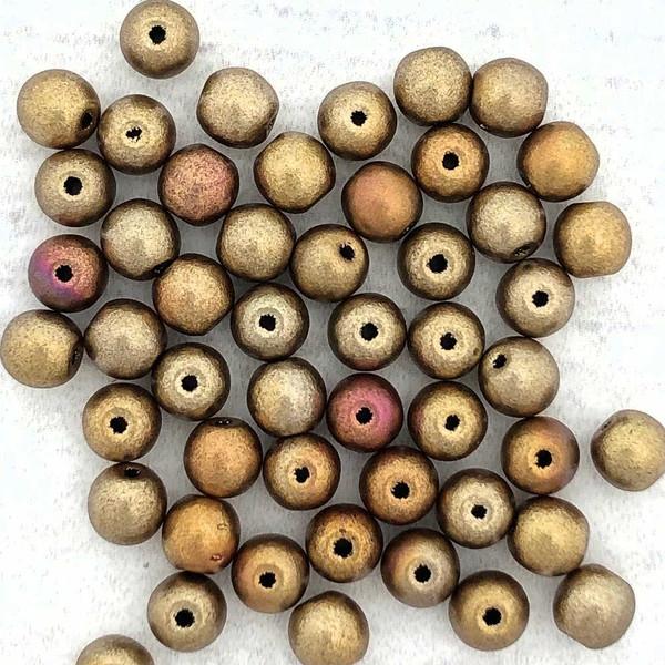 4mm Round Glass Beads, Metallic Mix (Qty: 50)