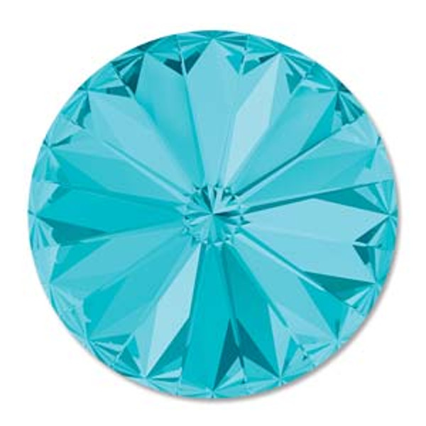 12mm Swarovski Rivoli, Light Turquoise (Qty: 1)