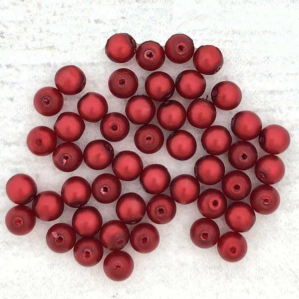 4mm Round Glass Beads, Red Metallic Satin (Qty: 50)