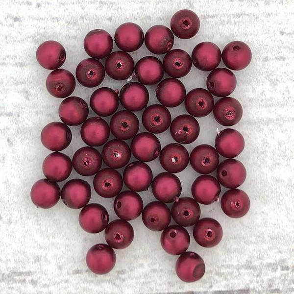 4mm Round Glass Beads, Magenta Metallic Satin (Qty: 50)