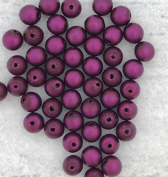 4mm Round Glass Beads, Plum Metallic Satin (Qty: 50)
