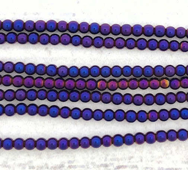 "2mm Electric Purple/Blue Electroplated Hematite Beads, 15.5"" strand, Approx. 180 beads"