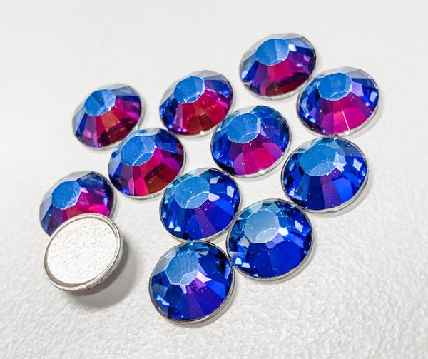 Crystal Meridian Blue Swarovski Flat Back Crystals, Article 2028, SS 40, Non-HotFix (Qty: 12)