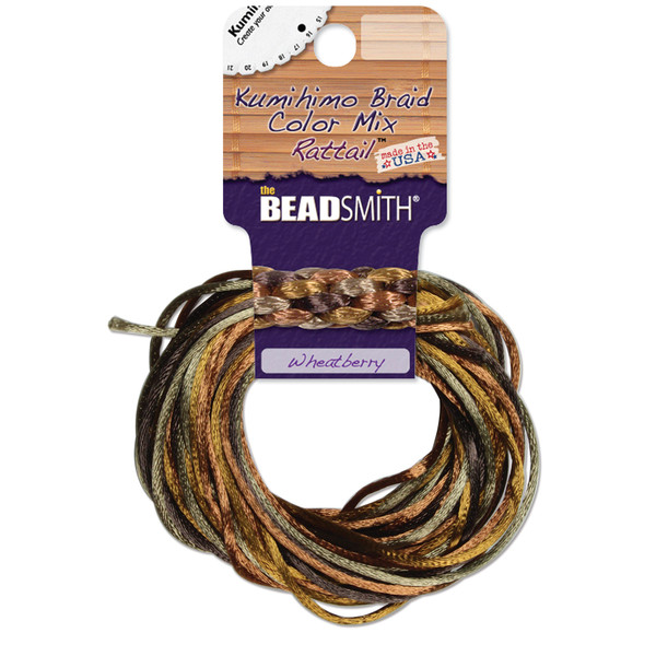 2mm Satin Cord (Rattail) Mix, Earth Tones (4 colors - 3 yards each)