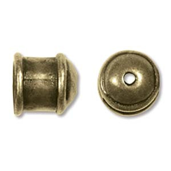 Small Hammered End Caps, Antique Brass, ID: 5mm (Qty: 2)