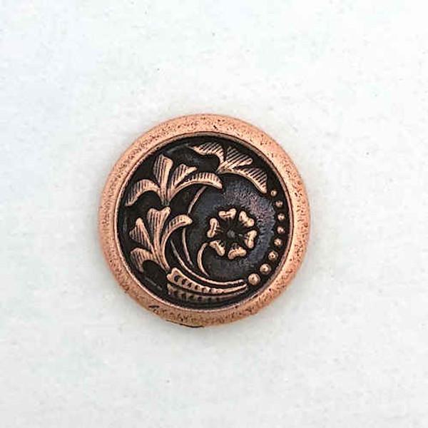 TierraCast Button, Leaf/Flower Design, Antique Copper Plated (17mm) (Qty: 1)