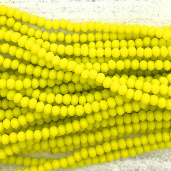 2x3mm Crystal Rondelles, Opaque Yellow (Qty: Approx. 140 Beads)
