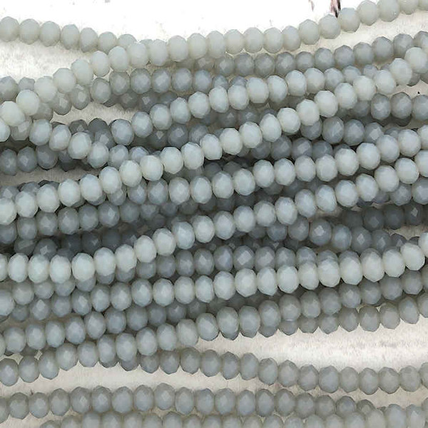 2x3mm Crystal Rondelles, Grey Opal (Approx. 140 Beads)