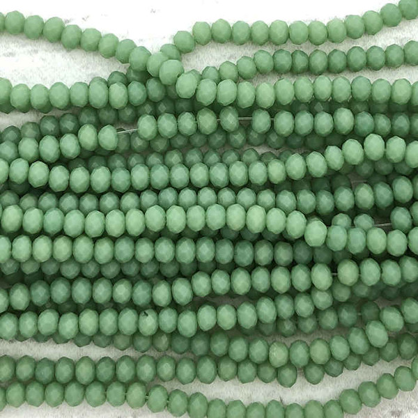 2x3mm Crystal Rondelles, Green Jade (Approx. 140 Beads)
