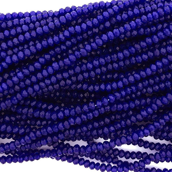 1.5x2mm Crystal Rondelles, Royal Blue (Approx. 200 Beads)