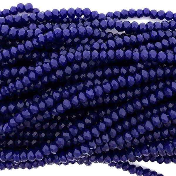 2x3mm Crystal Rondelles, Royal Blue (Approx. 140 Beads)