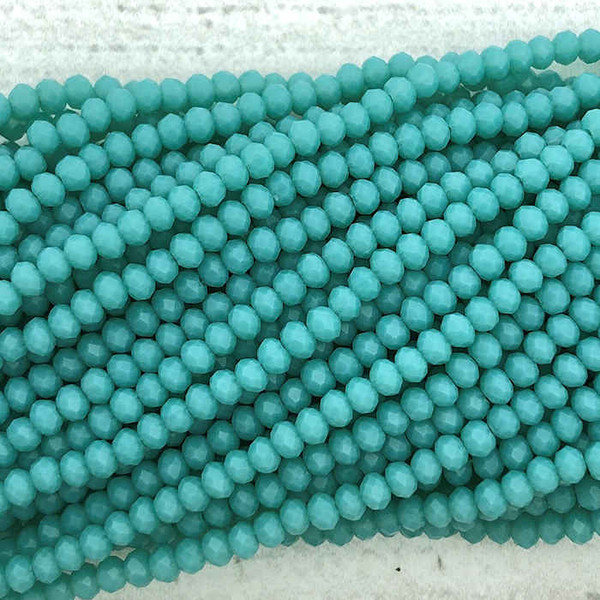 2x3mm Crystal Rondelles, Mint Blue (Qty: Approx. 140 Beads)