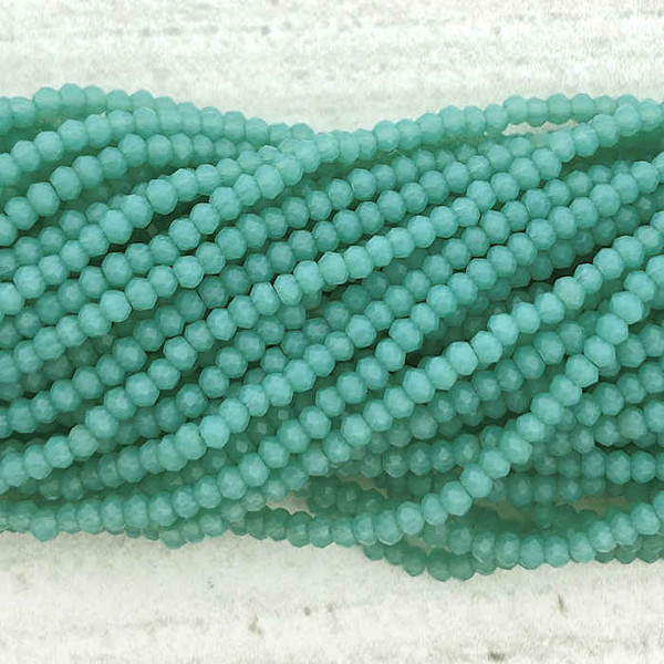 1.5x2mm Crystal Rondelles, Mint Blue (Approx. 200 Beads)