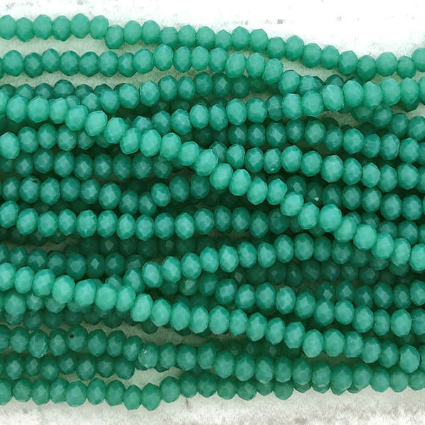 2x3mm Crystal Rondelles, Viridian Green (Qty: Approx. 140 Beads)