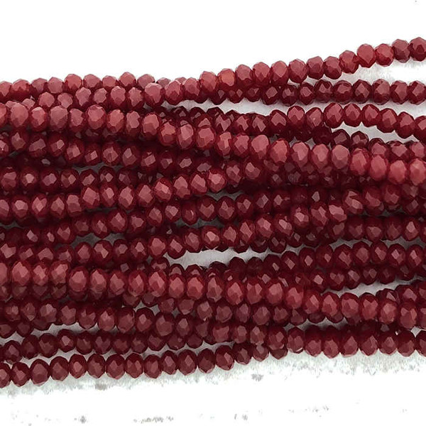 2x3mm Crystal Rondelles, Ruby Red (Approx. 140 Beads)