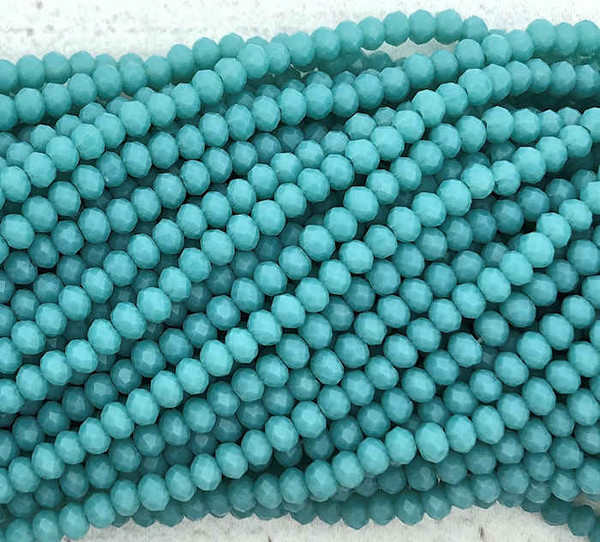 2x3mm Crystal Rondelles, Tiffany Blue (Approx. 140 Beads)