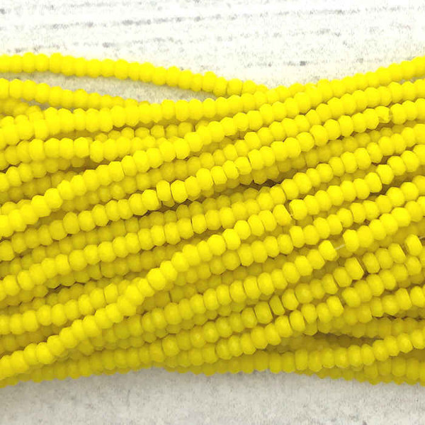 1.5x2mm Crystal Rondelles, Sunny Yellow (Qty: Approx. 200 Beads)