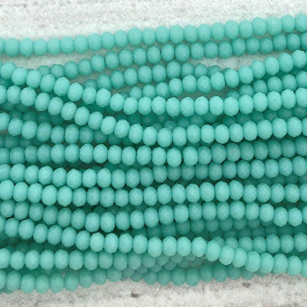 2x3mm Crystal Rondelles, Turquoise (Approx. 140 Beads)