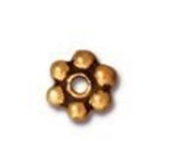 TierraCast 4mm Daisy Spacers, Antique Gold-Plated (Qty: 50)