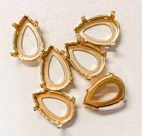 Gold-Plated Sew-On Settings for Swarovski 4320, 8.5x13mm Pears (Qty: 6)