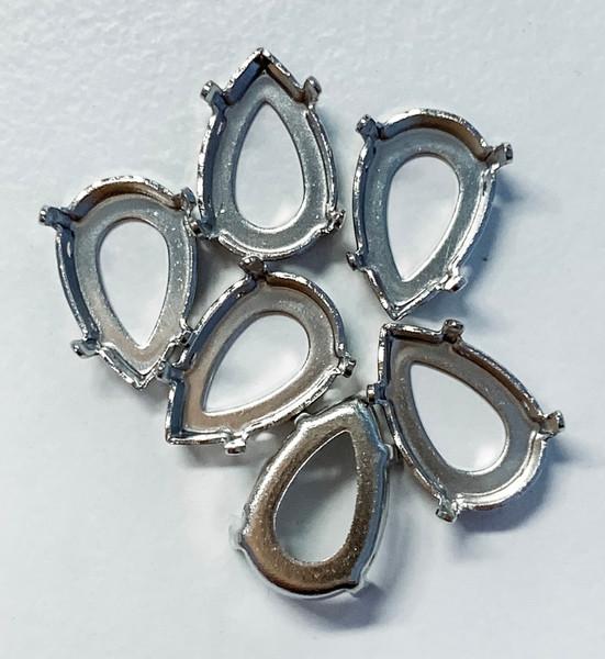 Rhodium-Plated Sew-On Settings for Swarovski 4320, 8.5x13mm Pears (Qty: 6)