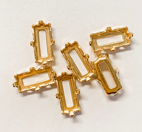 Gold-Plated Sew-On Settings for Swarovski 4610/4501, 10x5mm Baguette (Qty: 6)