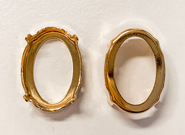 Gold-Plated Sew-On Settings for Swarovski 4120, 18x13mm Oval (Qty: 2)