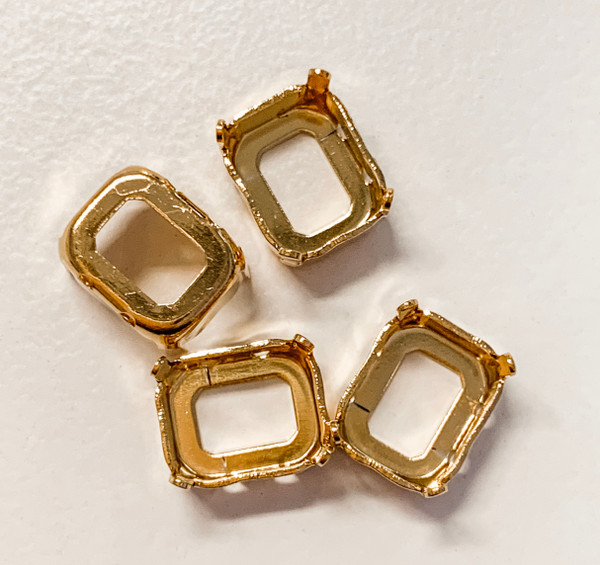 Gold-Plated Sew-On Settings for Swarovski 4600, 10x8mm Octagon (Qty: 4)
