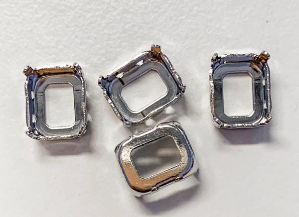 Rhodium-Plated Sew-On Settings for Swarovski 4600, 10x8mm Octagon (Qty: 4)