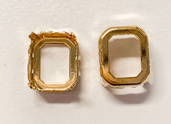Gold-Plated Sew-On Settings for Swarovski 4600, 12x10mm Octagon (Qty: 2)