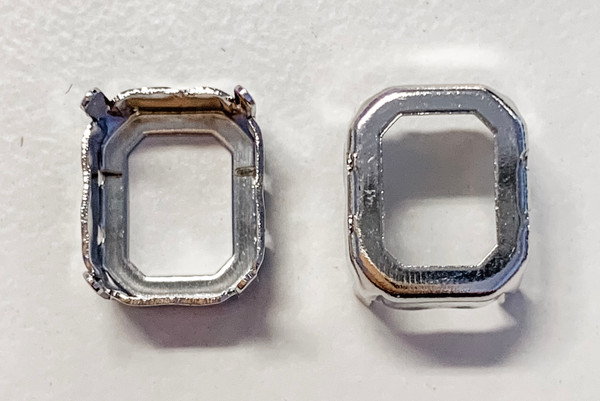 Rhodium-Plated Sew-On Settings for Swarovski 4600, 12x10mm Octagon (Qty: 2)