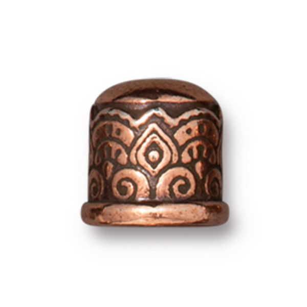 TierraCast 6mm Temple Cord End, No Loop, Antique Copper Plate (Qty: 2)