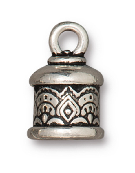 TierraCast 6mm Temple Cord End, Antique Silver Plate (Qty: 2)