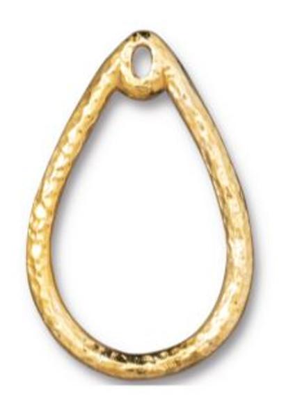 Tierra Cast Teardrop Wire Frame, Gold Plate, 20 x 30mm (Qty: 1)