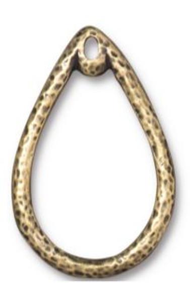 TierraCast Teardrop Wire Frame, Oxidized Brass Plate, 20 x 30mm (Qty: 1)