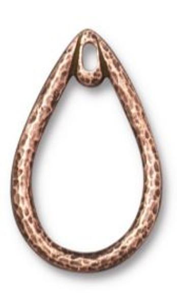 TierraCast Teardrop Wire Frame, Antique Copper Plate, 17 x 24mm (Qty: 1)