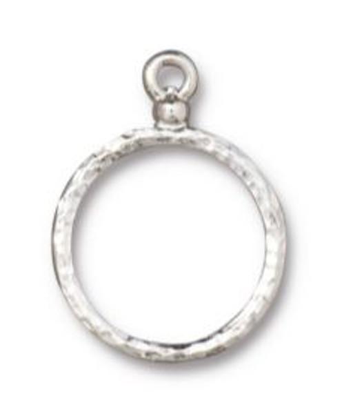 TierraCast Round Wire Frame, Rhodium Plate, 15mm (Qty: 1)