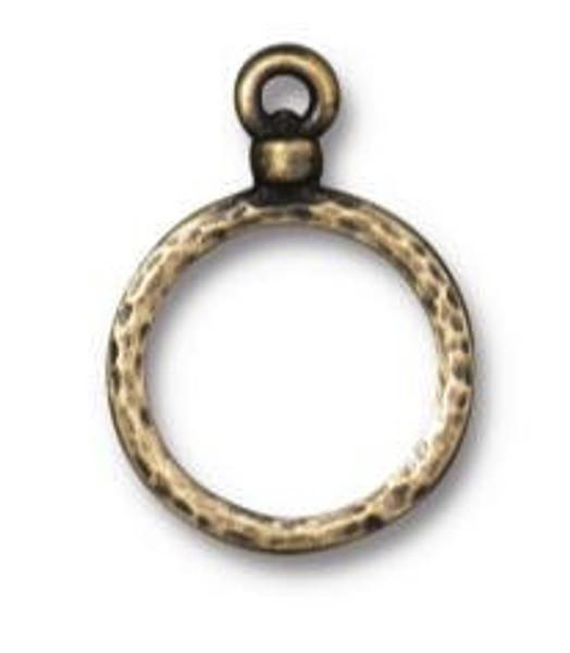 TierraCast Round Wire Frame, Oxidized Brass Plate, 15mm (Qty: 1)