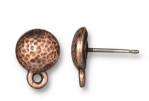 TierraCast Hammered Round Earring Post, Antique Copper Plate, 8.75mm (Qty: 1 pair)