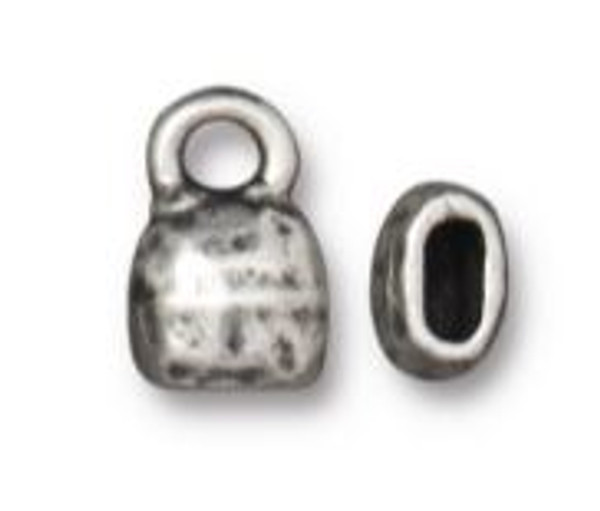 TierraCast Distressed Look Crimp End Cap, Antique Pewter Plated, ID 4 x 2mm (Qty: 2)