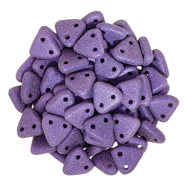 2-Hole Triangle Beads, Purple Metallic Suede (Qty: 50)