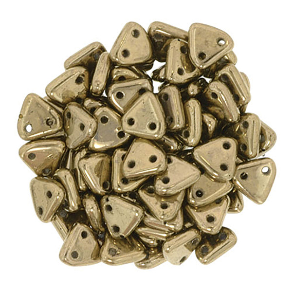 2-Hole Triangle Beads, Bronze (Qty: 50)