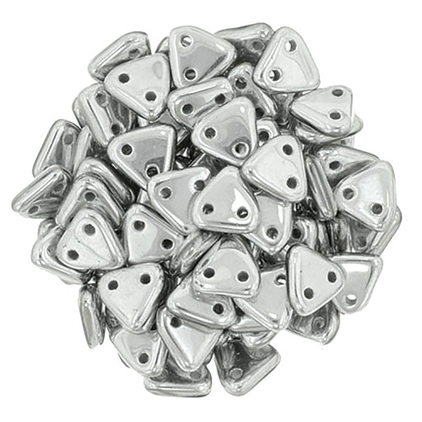 2-Hole Triangle Beads, Aluminum Silver (Qty: 50)