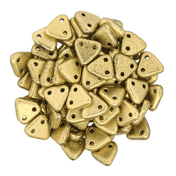 2-Hole Triangle Beads, Aztec Gold (Qty: 50)