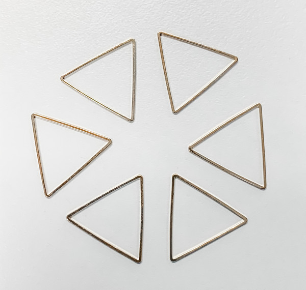 29mm Triangle Link/Frame/Form, Gold-Plated Brass (Qty: 6)