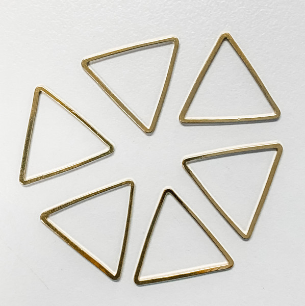 20mm Triangle Link/Frame/Form, Gold-Plated Brass (Qty: 6)